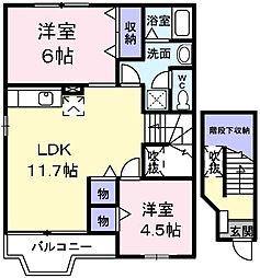 JR五日市線 武蔵五日市駅 徒歩13分の賃貸アパート 2階2LDKの間取り