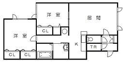 メゾンT&C B棟[206号室]の間取り