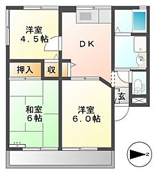 高野ハイツ A棟[2階]の間取り