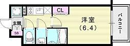 JR山陽本線 兵庫駅 徒歩4分の賃貸マンション 3階1Kの間取り