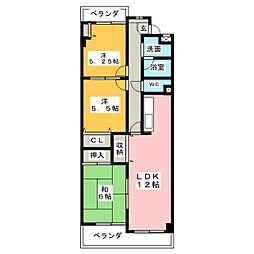 愛知県春日井市勝川町5丁目の賃貸マンションの間取り