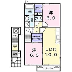 福岡県福岡市早良区東入部8丁目の賃貸アパートの間取り