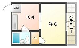 ハイツ大倉[3階]の間取り