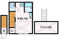 東京都品川区東大井2丁目の賃貸アパートの間取り