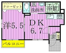 千葉県松戸市小金きよしケ丘4丁目の賃貸アパートの間取り