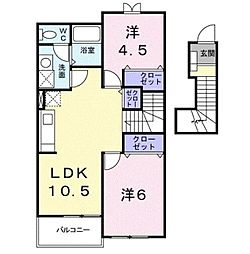 レイベルポ−ト松元A棟[2階]の間取り