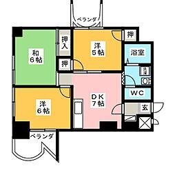 カーサフクシマB棟[6階]の間取り