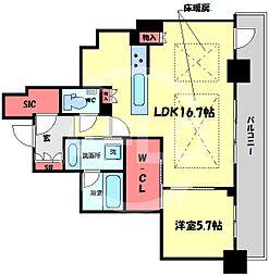ブランズタワー梅田North(ブランズタワー梅田ノース) 41階1LDKの間取り