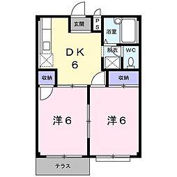 埼玉県吉川市高富1丁目の賃貸アパートの間取り