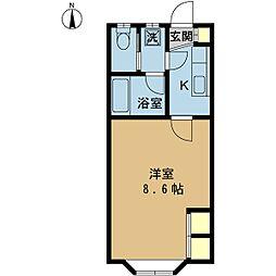 クレセント紫竹山[102号室]の間取り