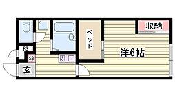 山陽電鉄本線 舞子公園駅 徒歩20分の賃貸アパート 2階1Kの間取り