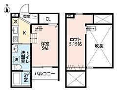 愛知県名古屋市西区天塚町1丁目の賃貸アパートの間取り
