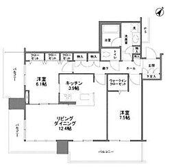 リガーレ日本橋人形町 18階2LDKの間取り