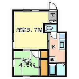 喜連川ハイツ[202号室]の間取り