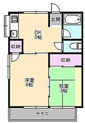 ふじ荘[1-B号室]の間取り