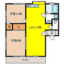 栃木県真岡市東郷の賃貸アパートの間取り