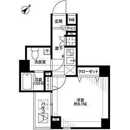 プレール・ドゥーク北新宿[806号室]の間取り