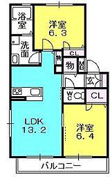 フローレ浜松原[1階]の間取り