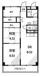 横山三ツ池マンション[1階]の間取り