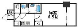 アドバンス大阪バレンシア 2階1Kの間取り