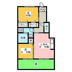 愛知県岡崎市石神町の賃貸アパートの間取り