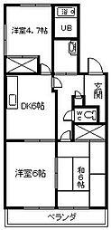 愛知県安城市里町3丁目の賃貸アパートの間取り