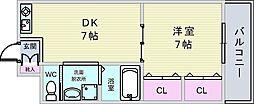 大阪府豊中市刀根山4丁目の賃貸アパートの間取り