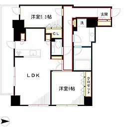 JR中央本線 三鷹駅 徒歩1分の賃貸マンション 14階2LDKの間取り