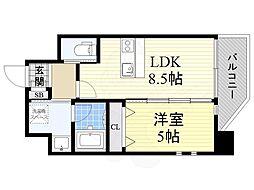 プレジオ江坂2 7階1LDKの間取り