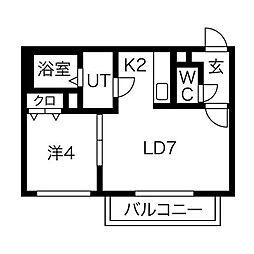 エスポアールN[4階]の間取り