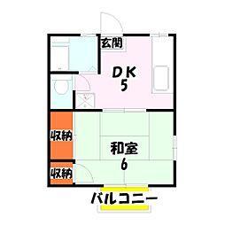 東京都足立区伊興1丁目の賃貸アパートの間取り