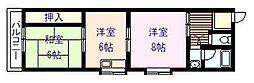 大阪府岸和田市小松里町の賃貸アパートの間取り