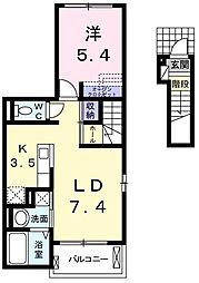 東京都青梅市新町2丁目の賃貸アパートの間取り