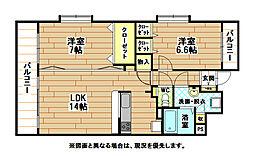ニューリバー三萩野[7階]の間取り