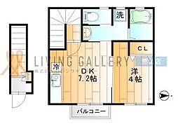 JR東北本線 郡山駅 徒歩17分の賃貸アパート 2階1DKの間取り