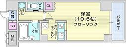 仙台市地下鉄東西線 国際センター駅 徒歩10分の賃貸マンション 3階ワンルームの間取り
