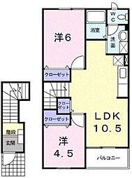 JR京浜東北・根岸線 本郷台駅 徒歩22分の賃貸アパート 2階2LDKの間取り
