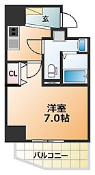 エグゼ阿倍野 13階1Kの間取り