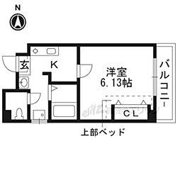 京阪本線 東福寺駅 徒歩3分の賃貸アパート 1階1Kの間取り