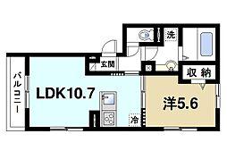 JR片町線(学研都市線) 木津駅 徒歩9分の賃貸アパート 2階1LDKの間取り