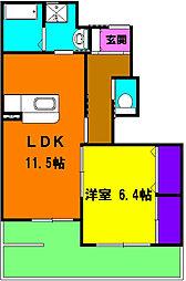 静岡県磐田市安久路2丁目の賃貸アパートの間取り