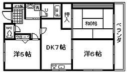 アジュール KIX 3階3DKの間取り