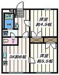 東京都江戸川区上篠崎2丁目の賃貸マンションの間取り