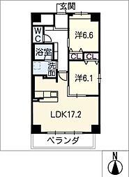 GRAN R TATSUMI 5階2LDKの間取り