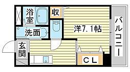 兵庫県姫路市飾磨区清水の賃貸マンションの間取り
