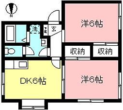 京王線 多磨霊園駅 徒歩11分の賃貸アパート 1階2DKの間取り