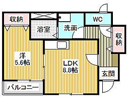 愛知県名古屋市中川区八神町1丁目の賃貸アパートの間取り