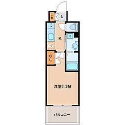 レジディア仙台上杉 13階1Kの間取り