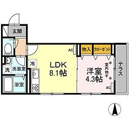 京王線 府中駅 徒歩4分の賃貸アパート 1階1LDKの間取り