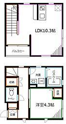 JR総武線 西荻窪駅 徒歩5分の賃貸アパート 2階1LDKの間取り